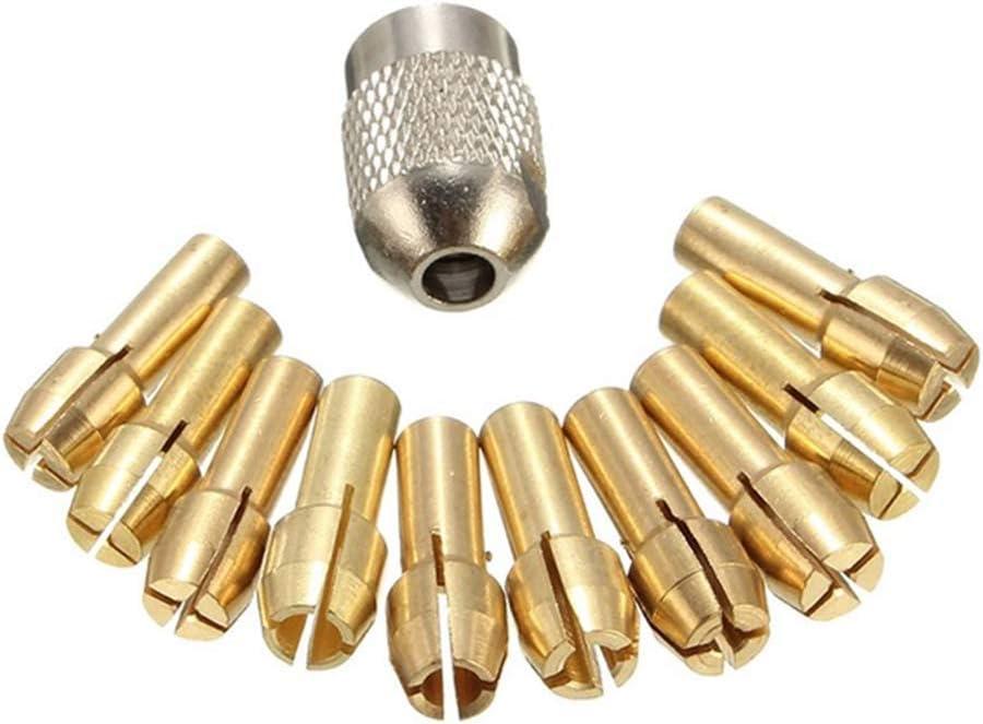 Set Laiton Drill Chucks Collet Bits 0.5-3.2mm 4.3mm Shank Vis /Écrou Remplacement pour Dremel Outil Rotatif Li-ly/11PCS