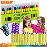 Buluri Face Paint, 16 Colors Face Body Painting Kits for Kids Safe and Non-Toxic Professional Face painting Sets with 40 Stencils, Perfect for Carnival, Easter, Cosplay, Theme Parties (Face Paint)