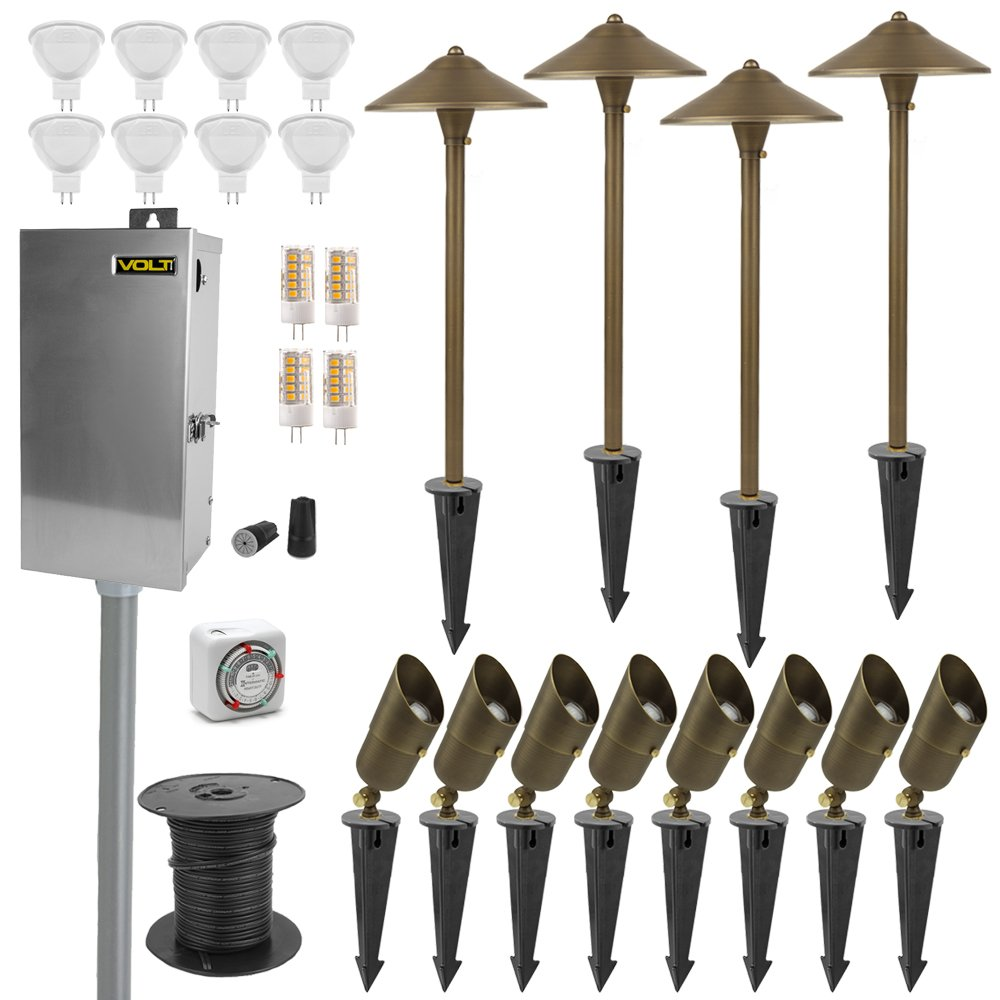 VOLT Lighting 12 Light LED Landscape Lighting Kit - 8 Pro-Grade Solid Brass Spotlights, 4 Brass Path Lights, Transformer, Timer. All Cable and Connectors Included & UL/cUL Listed