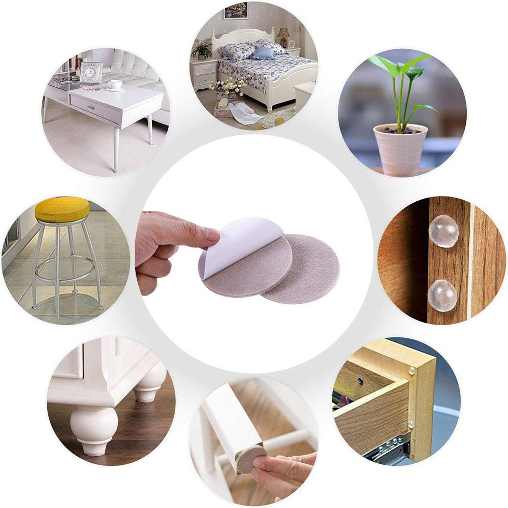 Wood Floor Protector,6 Sizes Packed in Resealable Bag Sopplea 190 PCS Furniture Pads Self Adhesive Furniture Protect Felt Pads for Hard Surface from Scratches or Noise White