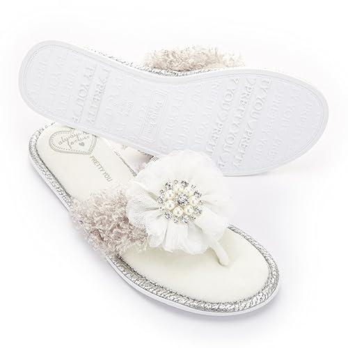 Pretty You London - Zapatillas de Estar por casa de Material Sintético para Mujer Blanco Blanco, Color Blanco, Talla 35.5: Amazon.es: Zapatos y complementos