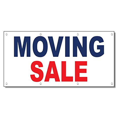 amazon com moving sale blue red 13 oz vinyl banner sign with