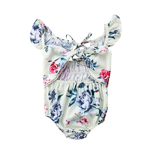328c8ad89bce Infant Toddler Baby Kid Girl Floral Romper Fly Sleeve Bodysuit Bowknot  Jumpsuit Sunsuit Playsuit Summer Outfit