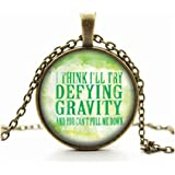 Wicked The Musical NECKLACE- Defying Gravity Pendant Necklace Glass Cameo Cabochon Tile Necklace NECKLACE-