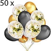 50 Globos Oro y Negro Globos de Confeti