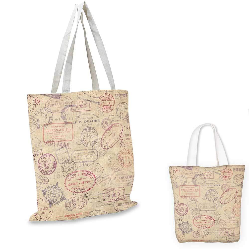 Vintage canvas messenger bag Retro Swirls and Curves Pattern with Artistic Medieval Baroque Arrangement canvas beach bag Beige Dark Taupe 16x18-13