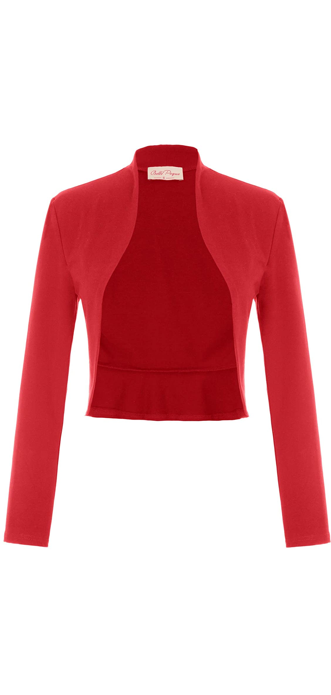Women's Vintage Cropped Shrug Open Front Long Sleeve