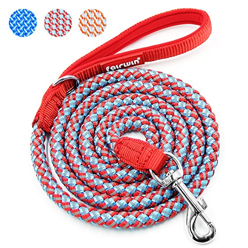 Fairwin Reflective Dog Leash, 6 Foot Heavy Duty Rope Reflective Braided Dog Leash for Large Medium Small Dogs Training by Fairwin