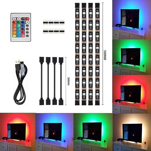 Tiras LED de Luz TV, SMD 5050 RGB 20 Modo de Color 4*50cm USB