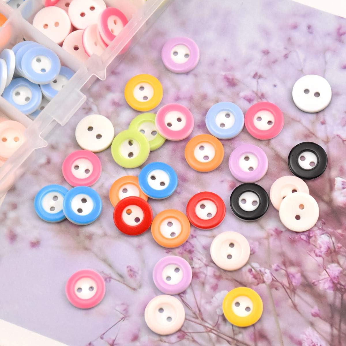 10 Colores 150 Pzs Botones Costura Botones de Ropa de Beb/é Infantil 2 Agujero con Caja de Pl/ástico para Manualidades Coser Artesan/ía Bot/ón de Colores Surtidos Redondos Botones de Resina