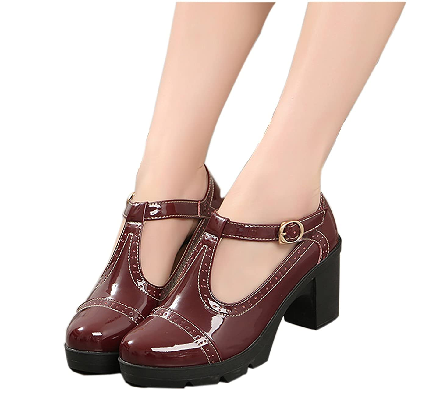 XIPAI Women's T-Strap Platform Shoes Mid-Heel Vintage Oxfords Dress Shoes