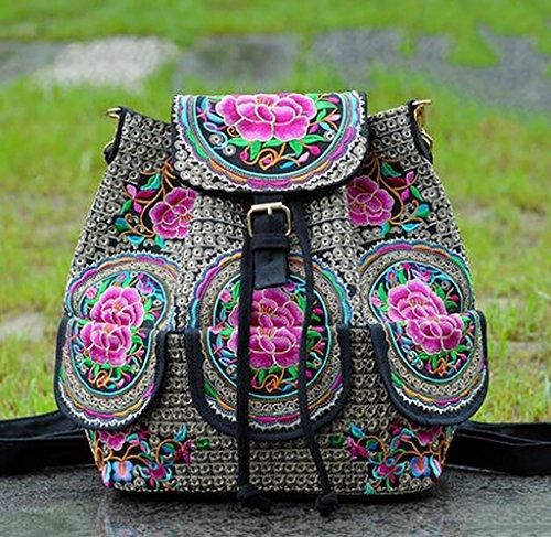 Gruesa hombro de la lona del bolso / bolso del bordado Viajes de Placer ( Color : 1# ) 7#