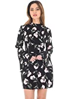 AX Paris Women's Floral Mini With Long Frill Bell Sleeves