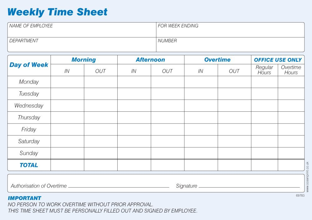 Challenge Weekly Time Sheet Pad Pack Of  AmazonCoUk Office
