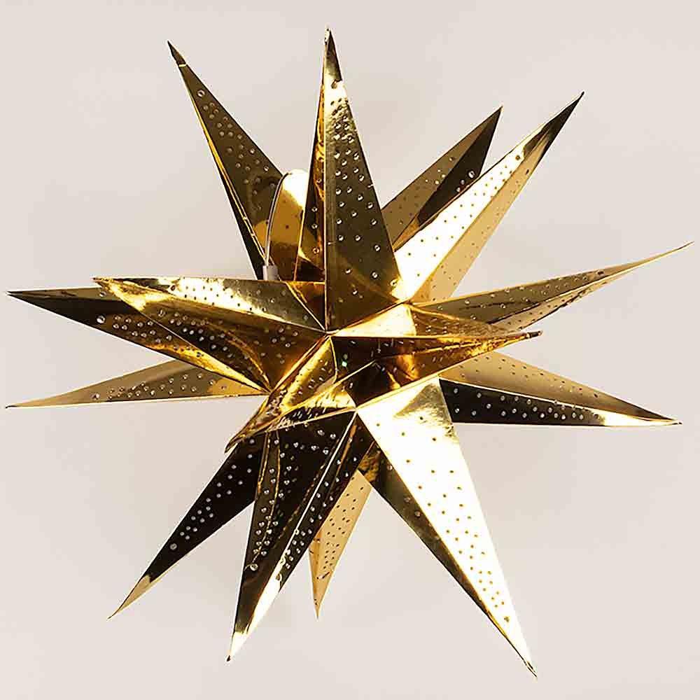 PaperLanternStore.com 24 Inch Moravian Glossy Gold Multi-Point Paper Star Lantern Lamp, Hanging Decoration