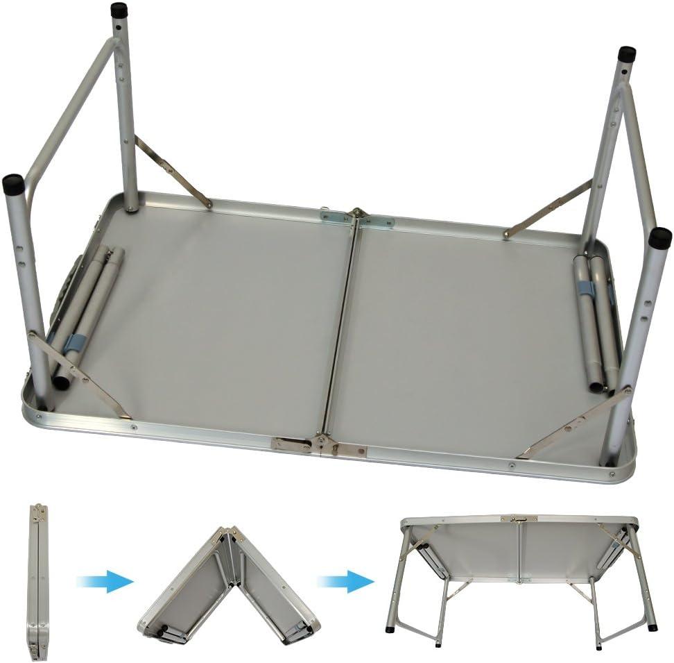 AMANKA Mesa para Acampada de Aluminio 90x60 cm portátil Plegable como si Fuera un maletín Altura Regulable Ideal para picnics Camping Playa jardín ...