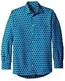 Gitman Blue Men's Pattern Spread Collar Sport Shirt, Blue, L
