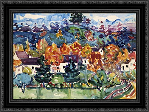 (Hillside Village 24x20 Black Ornate Wood Framed Canvas Art by Prendergast, Maurice)
