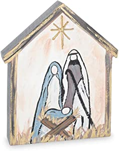 burton+BURTON Nativity Scene Wood Block Shelf Sitter