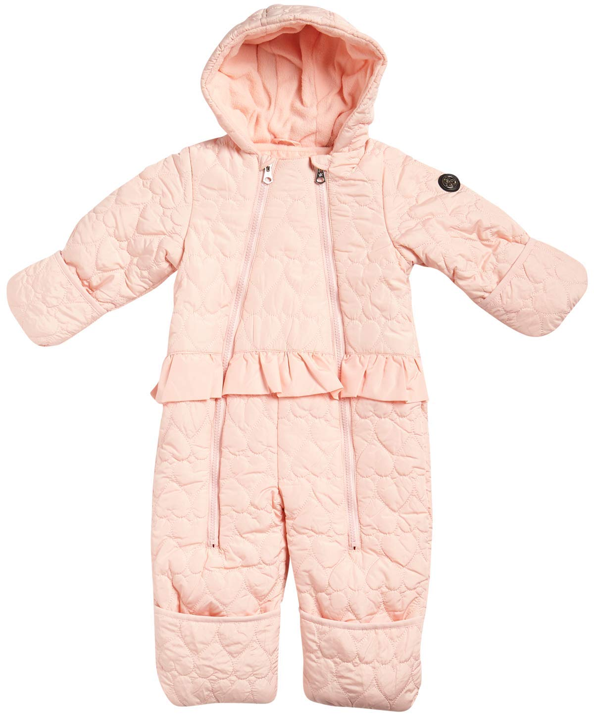 Jessica Simpson Baby Girls Hooded Heart Snowsuit Pram, Size 12 Months, Blush' by Jessica Simpson
