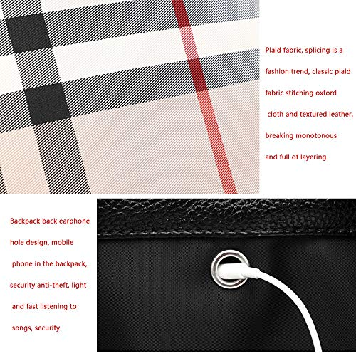 Black Grid Personalità Semplice Coreana Selvaggia color White Plaid Zaino Oxford Grande In Femminile Grid Moda Casual Capienza Tessuto wn8Spw6