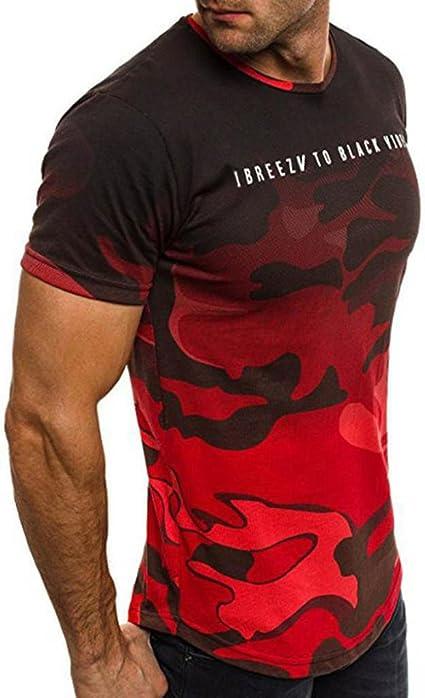 Koly Camisa de Hombre Manga Corta Camisas de Vestir Slim Fitness Tops Camisetas Blusa de Camouflage Camisa de Polo de Corte Camiseta Térmica de ...