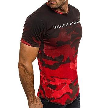 Koly Camisa de Hombre Manga Corta Camisas de Vestir Slim Fitness Tops Camisetas Blusa de Camouflage