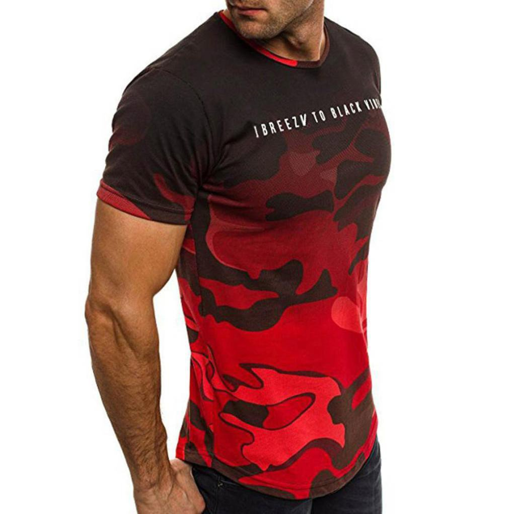 Ibreezv to Black Vibes Men's Crew T-Shirt Camouflage Casual Short Sleeved Tee (XXXL, Red)