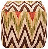 Surya POUF-32 Hand Made 80% Wool / 20% Cotton Brown 18'' x 18'' x 18'' Pouf