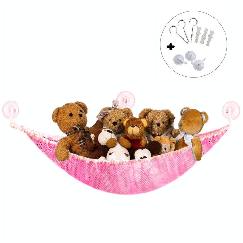 Large Toy Hammock for Stuffed Animals, Flexible Cuddly Toy Storage Net Organiser for Bedroom Bathroom (59 x 39.3 x 39.3, White) Sycle circle