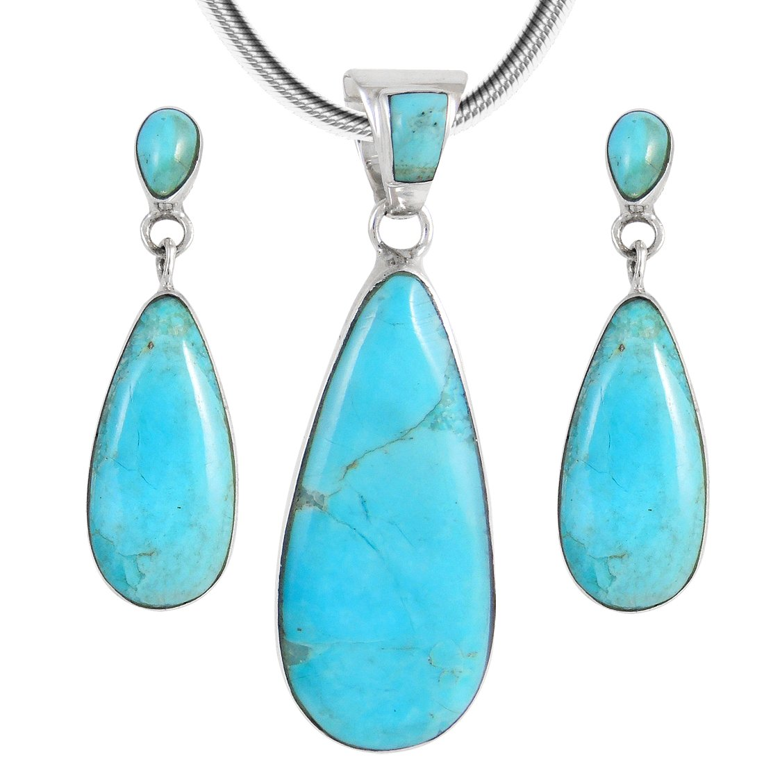 Matching Turquoise Set in 925 Sterling Silver (Pendant, Earrings, Necklace 20'') Genuine Turquoise (Turquoise)