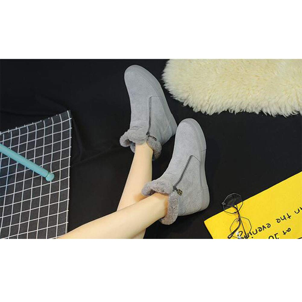 FF Weibliche Flache Ferse Plus SAMT Booties Student Spitze (Farbe warme Baumwolle Schuhe Frauen (Farbe Spitze : Grau, Größe : EU36/UK4/CN36) - 9f80a4
