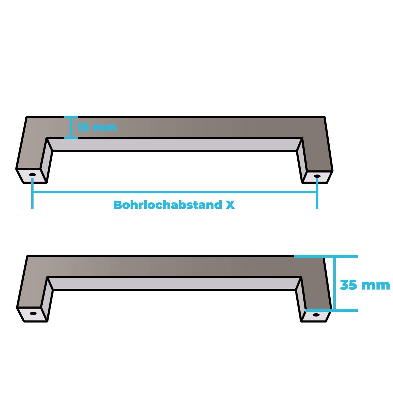 BA M/öbelgriffe 10er SET Relinggriff Echt-Edelstahl 15 x 15 mm Edelstahlgriff geb/ürstet eckig 96mm Profil
