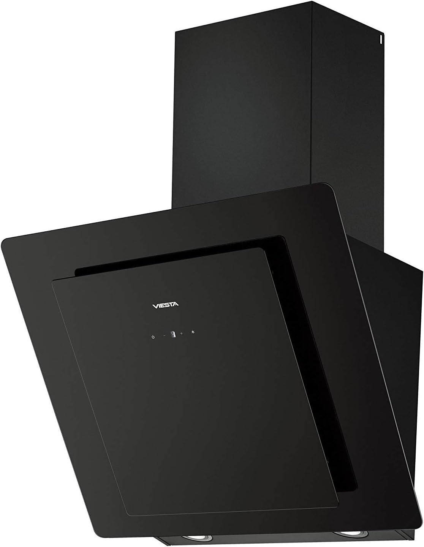 Viesta DH600A Campana de cocina 60cm incluido filtro de carbono activo - Campana extractora/Sensor de control táctil, iluminación LED, hecho de acero y cristal negro
