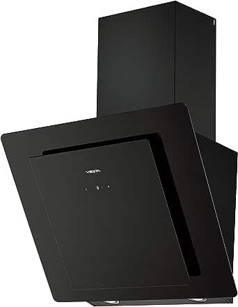 Viesta DH600A Campana de cocina 60cm incluido filtro de carbono activo - Campana extractora/Sensor de control táctil, iluminación LED, hecho de acero y cristal negro: Amazon.es: Grandes electrodomésticos