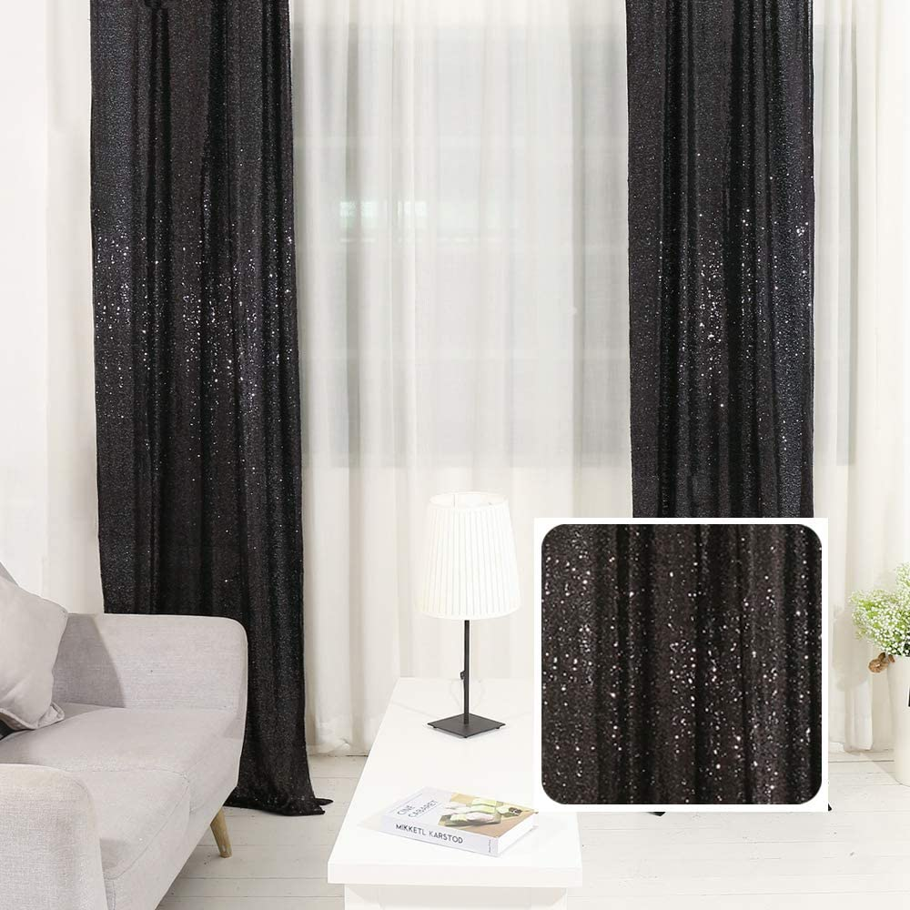 TRLYC Pack of 4 Shimmer Sequin Fabric Curtains Photography Backdrop (2FTx8FT,Black)