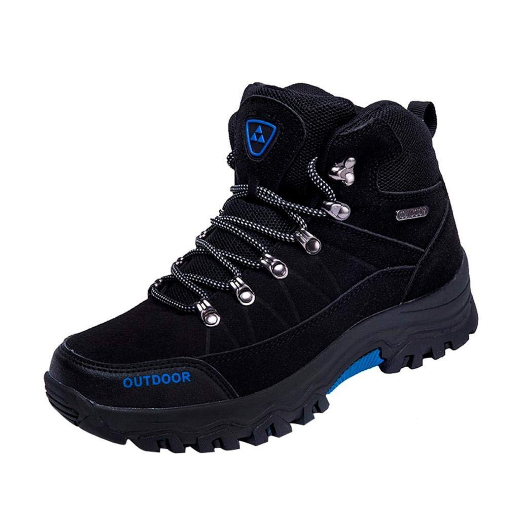 Gyoume Hiking Boots Shoes Men Outdoor Shoes Winter Running Boots Shoes Lace-up Mountaineering Boots