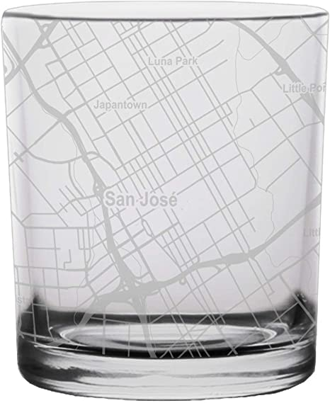 San Jose Map Rocks Whiskey Glass Gift
