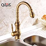 antique copper kitchen faucet pull out Kitchen Sink Faucet Modern Solid Copper Antique Hot and Cold Water Kitchen Sink Mixer Tap Contemporary Bathroom Sink Faucet with Rotating Spout Tall Body Sink Basin Mixer Tap