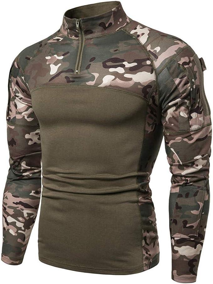 para airsoft caza bosque LANBAOSI Camiseta t/áctica de manga larga para hombre de manga larga,