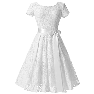 KeKeD23921 Tunic Lace Vintage Dress Female Robe Pul Casual 1950s Rockabilly Short Cap Sleeve V-