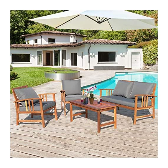 Tangkula 4 PCS Wood Patio Furniture Set, Outdoor Seating Chat Set with Gray Cushions & Back Pillow, Outdoor Conversation Set with Coffee Table, Ideal for Garden, Backyard, Poolside (Wood) - ☀️ Sturdy & Durable Frame☀️ : The frame of set is made of premium acacia wood which ensures the sturdiness and durability. And the set is not easy to deform and crack so that the set will provide long time service. With no peculiar smell and clear varnish on the wood, the frame is waterproof and the beauty can be kept for long time. ☀️ Ergonomic Design of Sofa ☀️ : Designed with slightly sloping backrest and curved handrails, the single chair and loveseat is very comfortable for relaxing yourself. With thick and soft cushions, it will also add comfort. And the seat cushions can be fixed on the slat of chair with strings. You don't need to worry about moving of cushion. ☀️ Multipurpose 4-piece Furniture☀️ : Our furniture set which includes 4 pieces can be combined in various ways or be used separately according to your different needs. You can enjoy good time with your family to drink, eat or chat. The set is ideal for your garden, patio, balcony, poolside and backyard to be a perfect décor. - patio-furniture, patio, conversation-sets - 61h9n2J LxL. SS570  -