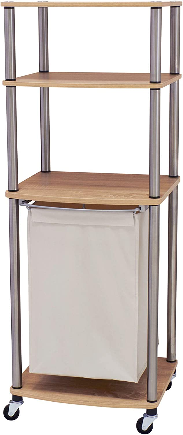 Household Essentials 7052-1 Organizer Cart with Single Canvas Hamper | Light Brown Triple Laundry Sorter with Folding Table, Walnut