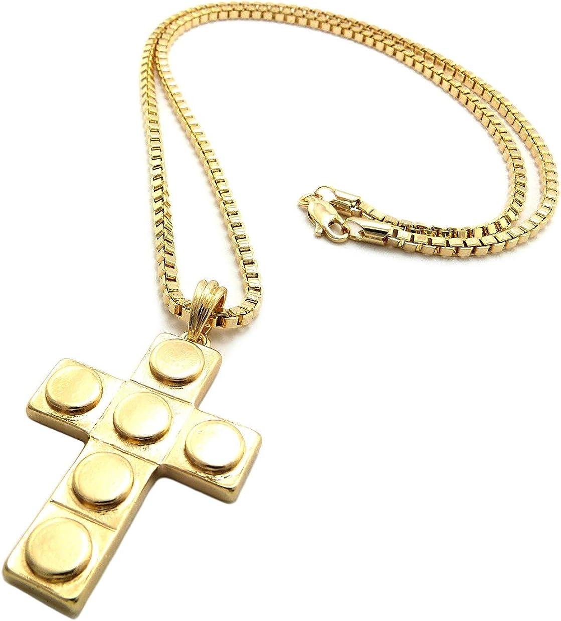 NYFASHION101 Toy Block Style Cross Micro Pendant 3mm 24 Box Chain Necklace