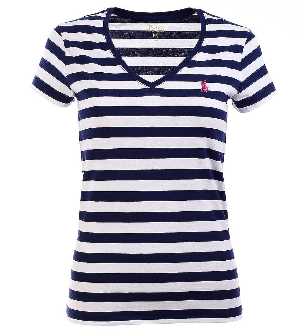64045989 Ralph Lauren Sport Womens Lightweight V-Neck T-Shirt (XS, Navy/White) at  Amazon Women's Clothing store:
