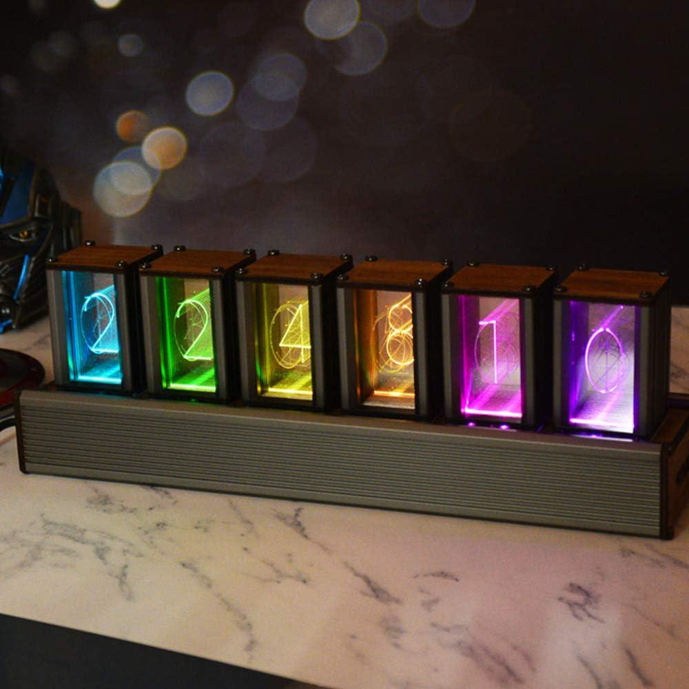 S SMAUTOP Reloj Nixie Tube Varios Estilos de Visualización RGB LED Digital Bricolaje USB Powered Reloj de Tubo Incandescente, Regalo Elegante para Amante, Amigo, Navidad, Cumpleaños (Ensamblado)