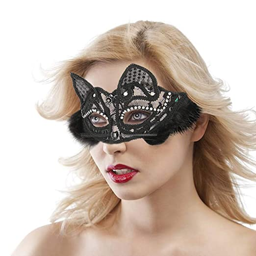 Women s Sexy Masquerade Mask White Black Glitter Fancy Cat Lace Eye Mask  for Cosplay Costume Party 067c57baa