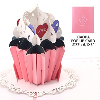 Amazon Pop Up Thank You Cards Xiaoba Cupcake Birthday Cards