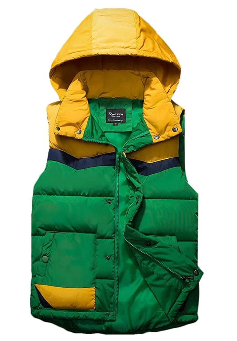 GRMO Men Stand Collar Quilted Sleeveless Warm Hooded Down Vest Jacket