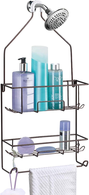 Shower Caddy Hanging over Shower Head Rust Roof Shower Organizer with 10 Hooks for Razor Shampoo Holder Bathroom Shower Rack Storage Shelf with Towel Bar Bronze